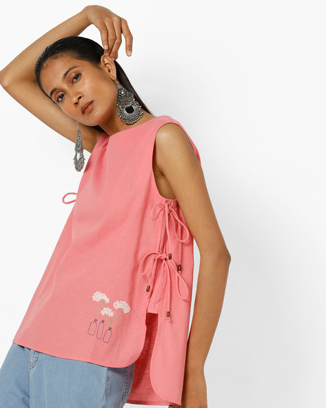High-Low Top With Tie-Up By AJIO ( Peach ) - 460142616001