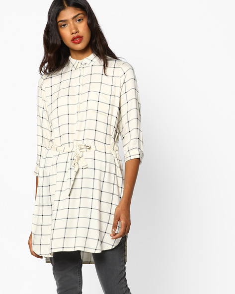 Checked Tunic With Button Placket By Fame Forever By Lifestyle ( White )