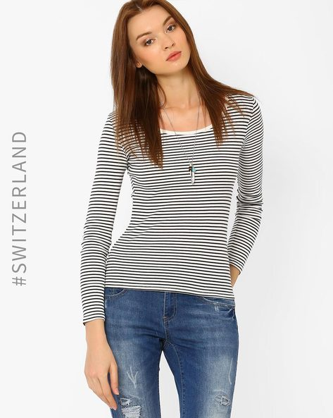 Striped Round-Neck T-shirt By TALLY WEiJL ( Offwhite )