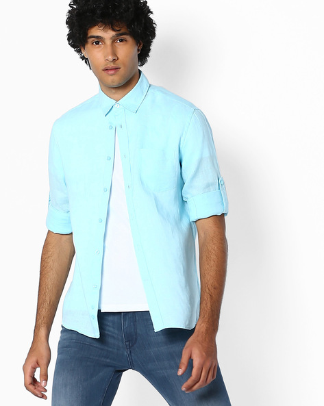 Pure Linen Shirt With Roll-Up Sleeves By Celio ( Aquablue )