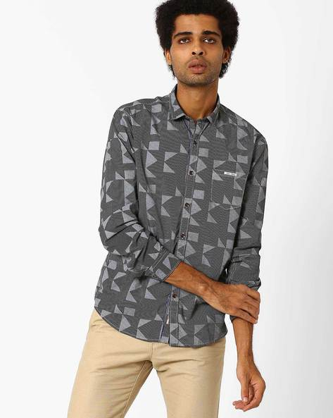 Casual Slim Fit Cotton Shirt By SIN ( Black )