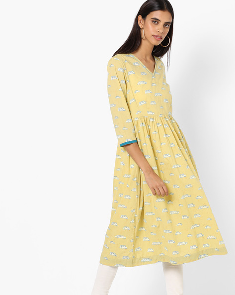 A-line Kurta With Contrast Sleeve Hems By AJIO ( Olive )