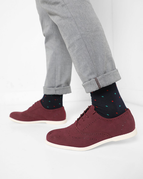 Casual Shoes With Lace-Ups By AJIO ( Maroon )