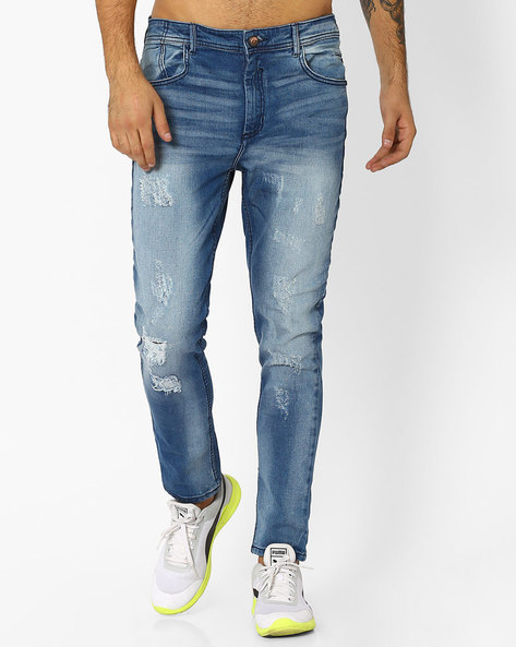 Slim Mid-Rise Denims By ADAMO LONDON ( Lightblue )