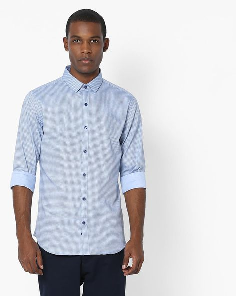 Geometric Print Slim Fit Shirt By UNITED COLORS OF BENETTON ( Blue )