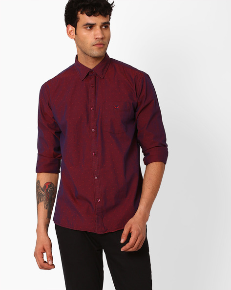 Printed Slim Fit Shirt By CRIMSOUNE CLUB ( Rust )