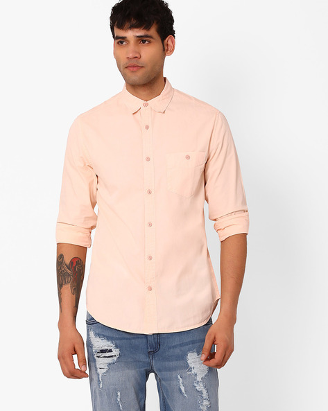Slim Fit Cotton Shirt By Blue Saint ( Lightpink )