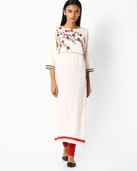 Straight Kurta With Embroidery By Jaipur Kurti ( Offwhite )