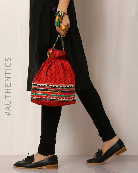 Lambani Embroidered Cotton Potli Bag By Indie Picks ( Red )