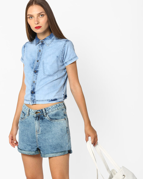 Heavily Washed Denim Shirt By AJIO ( Lightblue )