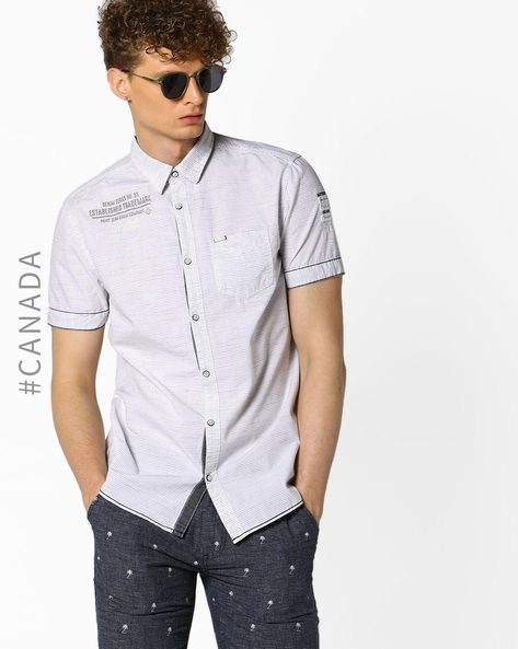Semi Fit Striped Shirt With Patch Pocket By Point Zero ( White )