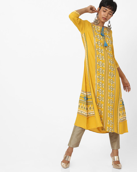 Printed Kurta With Tasseled Tie-Up By W ( Yellow )