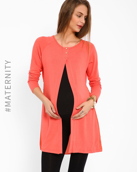 Open-Front Maternity Top With Raglan Sleeves By AJIO ( Coral )