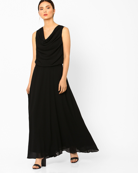 Cowl-Neck Maxi Dress By AJIO ( Black )