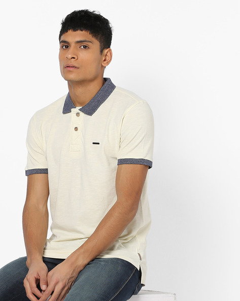 Polo T-shirt With Contrast Collar By FLYING MACHINE ( White )