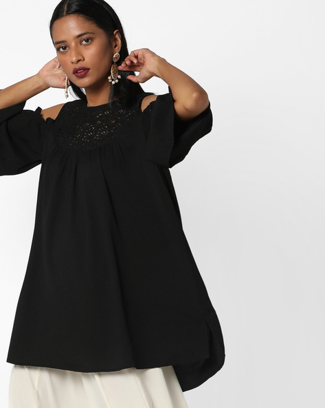 Cold-Shoulder Tunic With Crochet Yoke By AJIO ( Black )