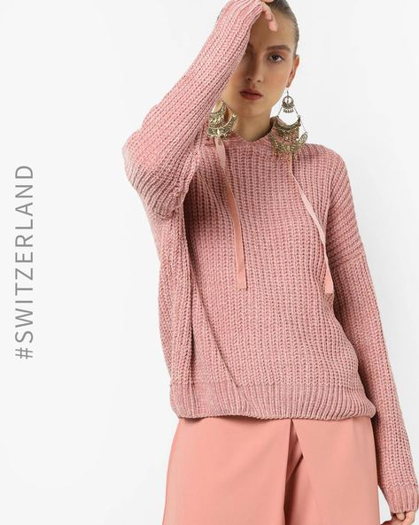Hooded Pullover With Neck Tie-Up By TALLY WEiJL ( Pink )