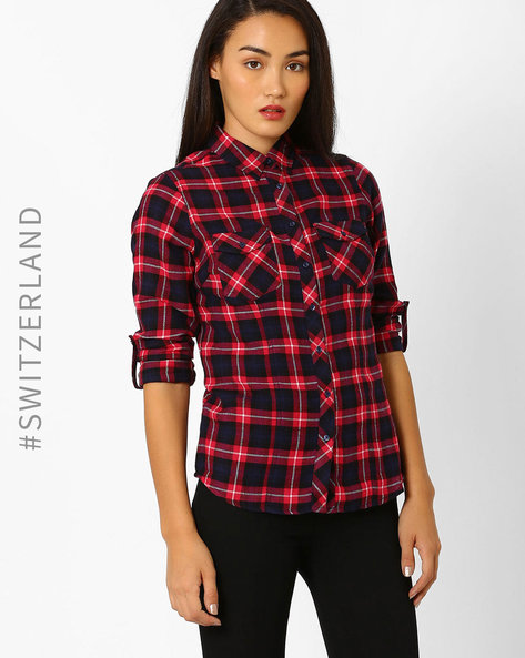 Checked Shirt With Flap Pockets By TALLY WEiJL ( Pink )