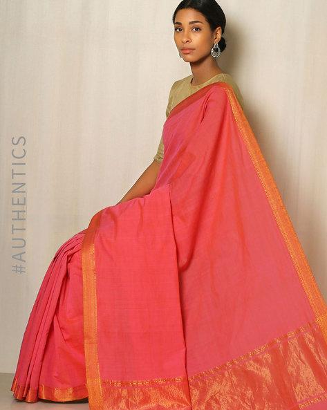 Handwoven Mangalgiri Cotton Saree With Zari Border By Indie Picks ( Pink )