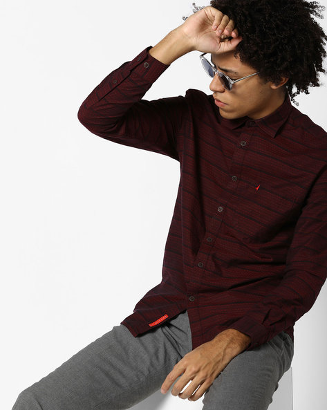 Striped Shirt With Patch Pocket By British Club ( Maroon )