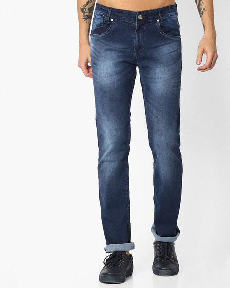 Mid-Rise Washed Straight Fit Jeans By MUFTI ( Dkblue )