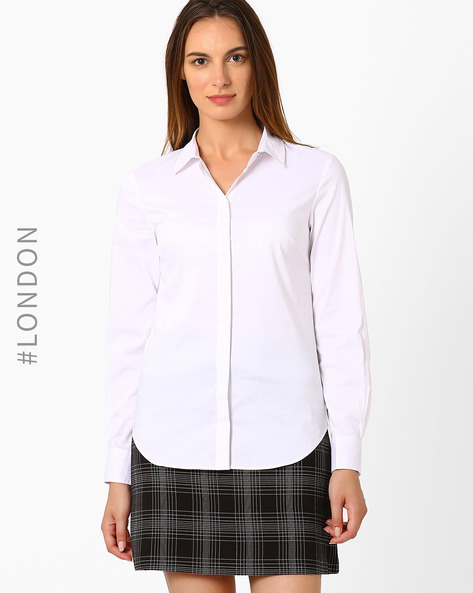 Shirt With Curved Hemline By Marks & Spencer ( White )
