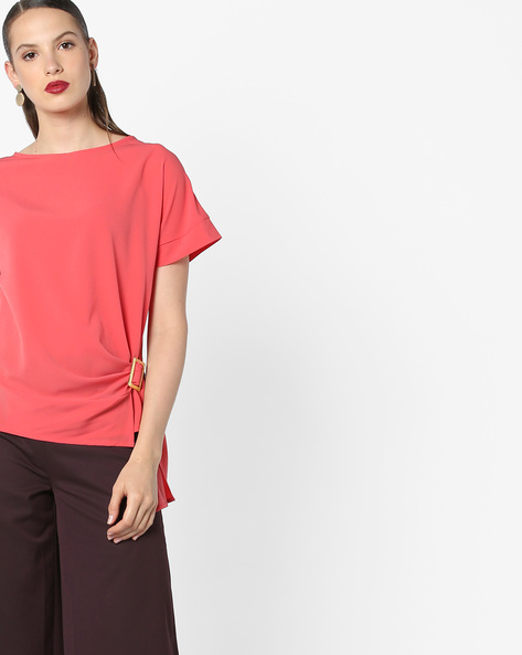 Boxy Top With Drop Shoulder Sleeves By AJIO ( Coral )