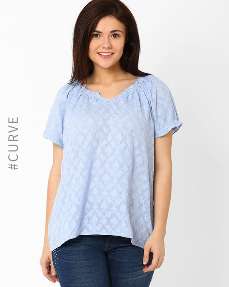 Textured Top With Ruched Neckline By Lastinch ( Lightblue )