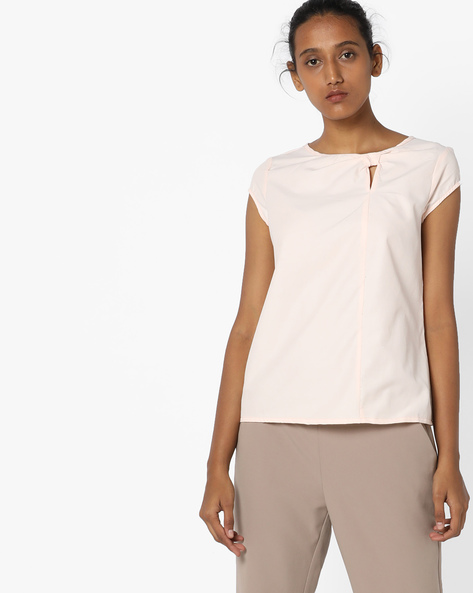 Cap-Sleeve Top With Cut-out By AJIO ( Peach )