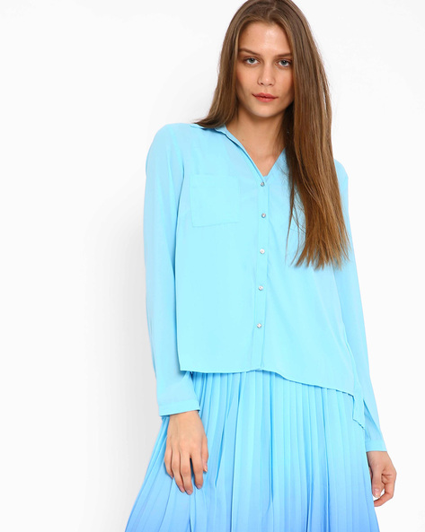 Pleated High-Low Shirt By AJIO ( Blue )