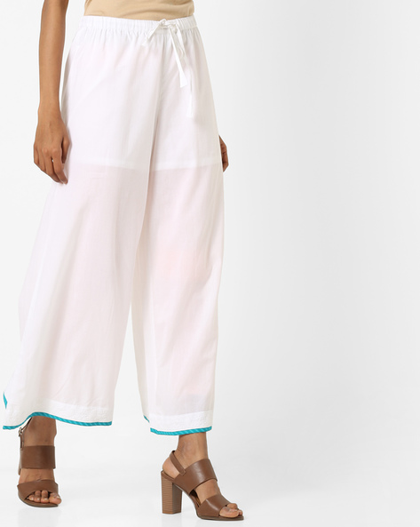 Palazzo Pants With Drawstring Waist By AJIO ( White )