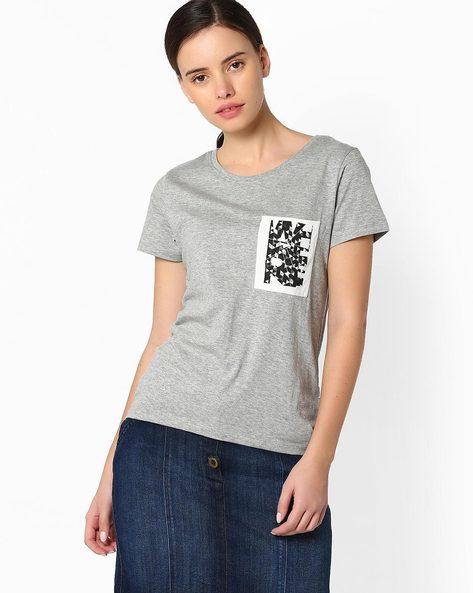 Step Hem T-shirt With Printed Pocket By RIO ( Greymelange )