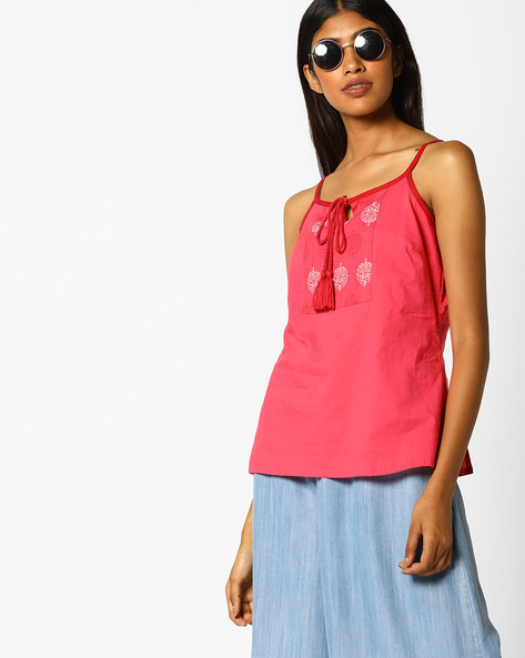 Printed Strappy Top With Lace-Up Fastening By AJIO ( Pink )