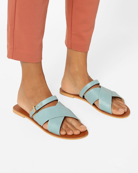 Criss-Cross Sandals With Mid-Foot Strap By AJIO ( Lightblue )