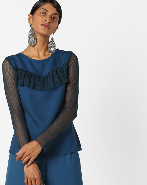 Ruffled Top With Sheer Sleeves By Oxolloxo ( Blue )