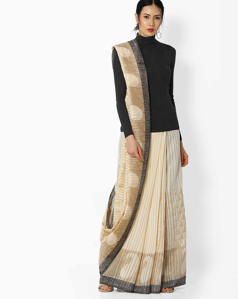 Embroidered Cotton Silk Saree By Amori ( Offwhite )