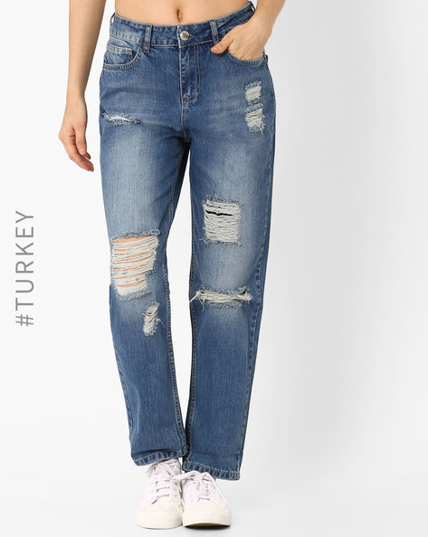 Heavily Distressed Jeans By TIFFANY & TOMATO ( Blue )
