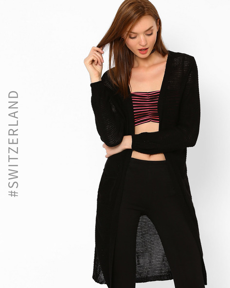 Open-Knit Maxi Cardigan By TALLY WEiJL ( Black )