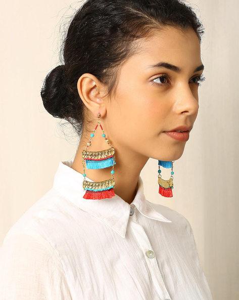 Handcrafted Glass Beaded Thread Tassel Drop-Earrings By Indie Picks ( Multi )