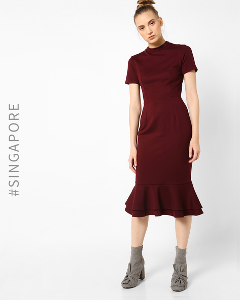 Sheath Dress With Ruffled Hemline By MDS ( Red )