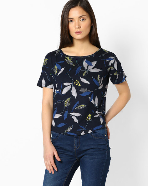 Printed Crew-Neck Top By FIG ( Navy )