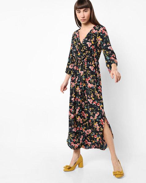 Floral Print Midi Dress By AJIO ( Navy )