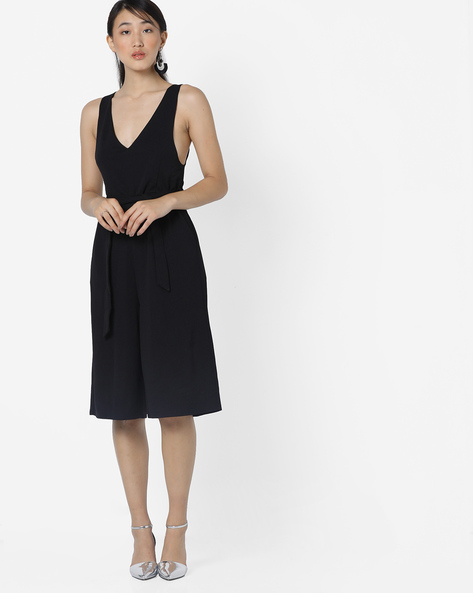 Culotte Jumpsuit With Waist Tie-Up By Only ( Black )