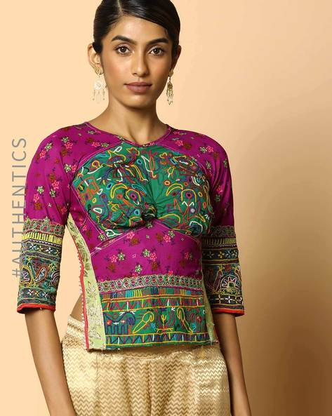 Kutch Embroidered Backless Blouse By Indie Picks ( Multi ) - 460103666001