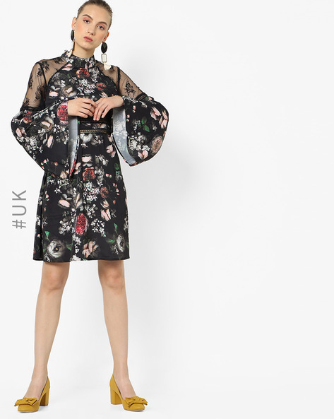 Floral Print Dress With Bell Sleeves By NEON ROSE ( Multi )