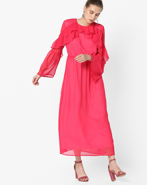 Ruffled Maxi Dress With Panelled Sleeves By Oxolloxo ( Red )