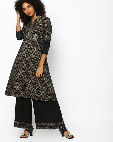 Printed A-line Kurta By Project Eve IW Evening ( Black )