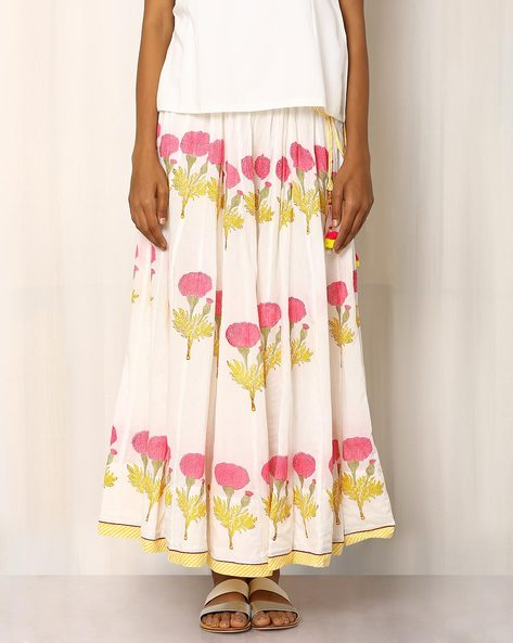 Handblock Print Cotton Long Skirt By Pink Lemon ( White ) - 460016555001