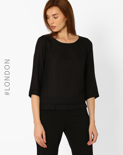 Woven Top With Panells By Marks & Spencer ( Black )