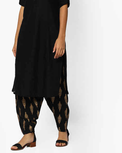 Printed Patiala Pants With Drawstring Waist By Melange By Lifestyle ( Black )